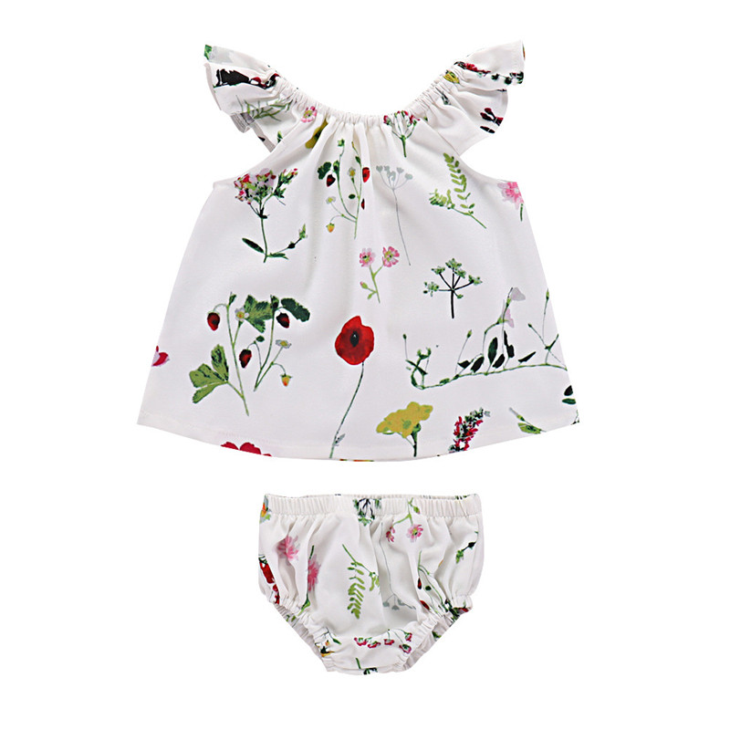 2018 Summer Baby Fashion Clothes Sets for Kids Toddler Print Flying Sleeve Shirts Romper+Shorts Suit Girls Clothing Suits