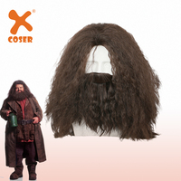 XCOSER Halloween Hagrid Costume Props Harry's Friend Cosplay Costume Brown Long Curly Wavy Hair Accessories With Beard Hot Sale