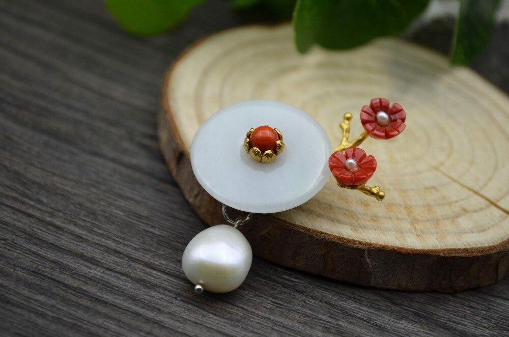 5e1e2ada7 2019 GLSEEVO Natural Fresh Water Pearl Jade Shell Flower Brooch Pins ...