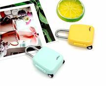 4 pezzi/lotto combinazione di blocco di modo mini carino bagaglio di viaggio del fumetto della chiusura lampo notebook lucchetto