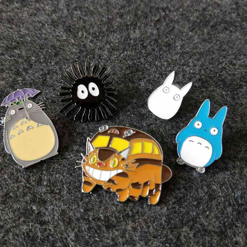 1 Pic Fashion Creative Cartoon Anime Totoro Brooches Five Style For Women Men Kawaii Cats Enamel Pin Denim Lapel Badges