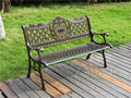 "51"" Patio Garden Bench Park Yard Outdoor Furniture Cast aluminum Frame Porch Chair"