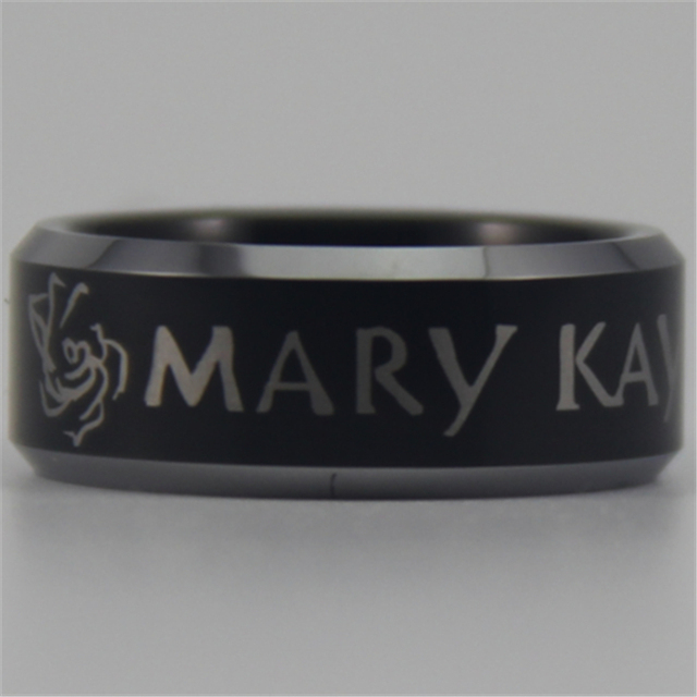 Free Shipping YGK JEWELRY Hot Sales 8MM Black Mary Kay Design New Tungsten Comfort Fit Ring
