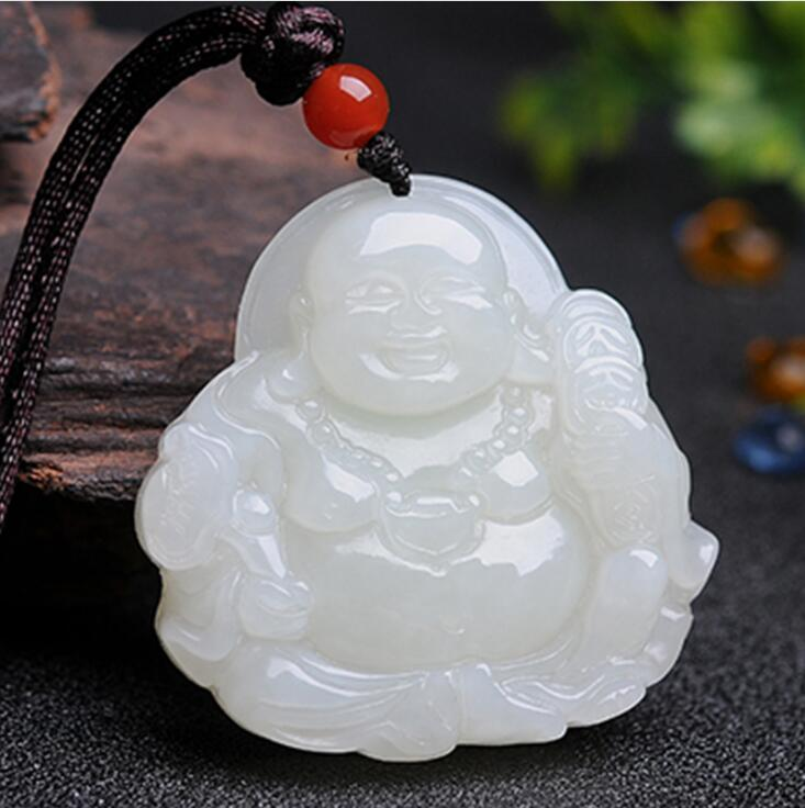 где купить Natural Xinjiang HeTian Yu white jade Money Buddha jade buddha Laughing Buddha jade pendant Necklace + Certificate по лучшей цене