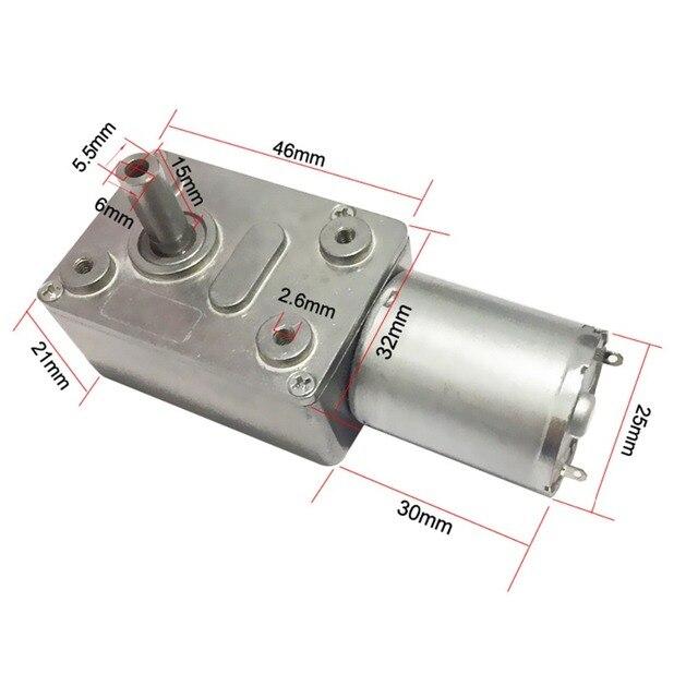 6V 24V Motor de engranaje de tornillo sin fin 12V reductor 3-210RPM DC de alto par de engranaje de Metal del Motor inversa de la cerradura para equipos de automatización