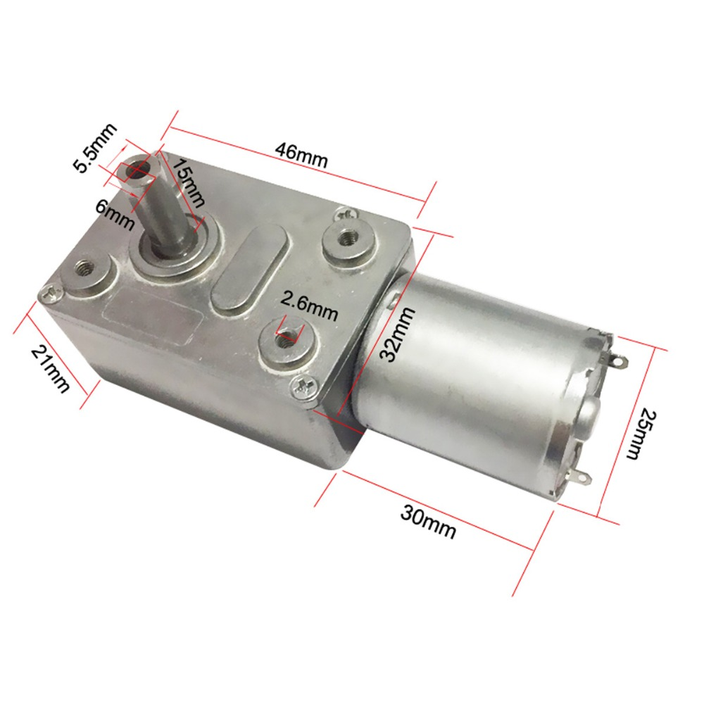 6V 24V Worm Gear Motor 12V Reducer 3-210RPM DC High Torque Electric Motor Metal Gear Reverse Self Lock For Automation Equipment