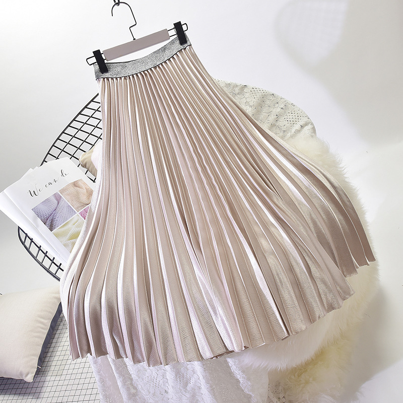 Stretch High Waist Long Pleated Skirt 24