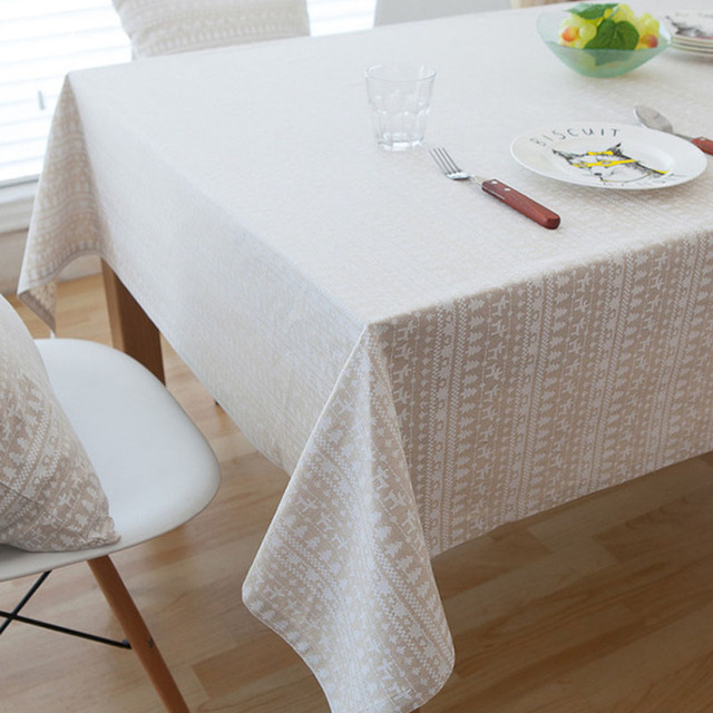 New Rectangle Past Deer Christmas Tree Tablecloth Linen And Cotton Table Cloth Dust Proof