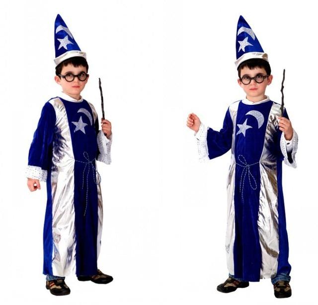 halloween masked ball kids performance costume blue wizard robe