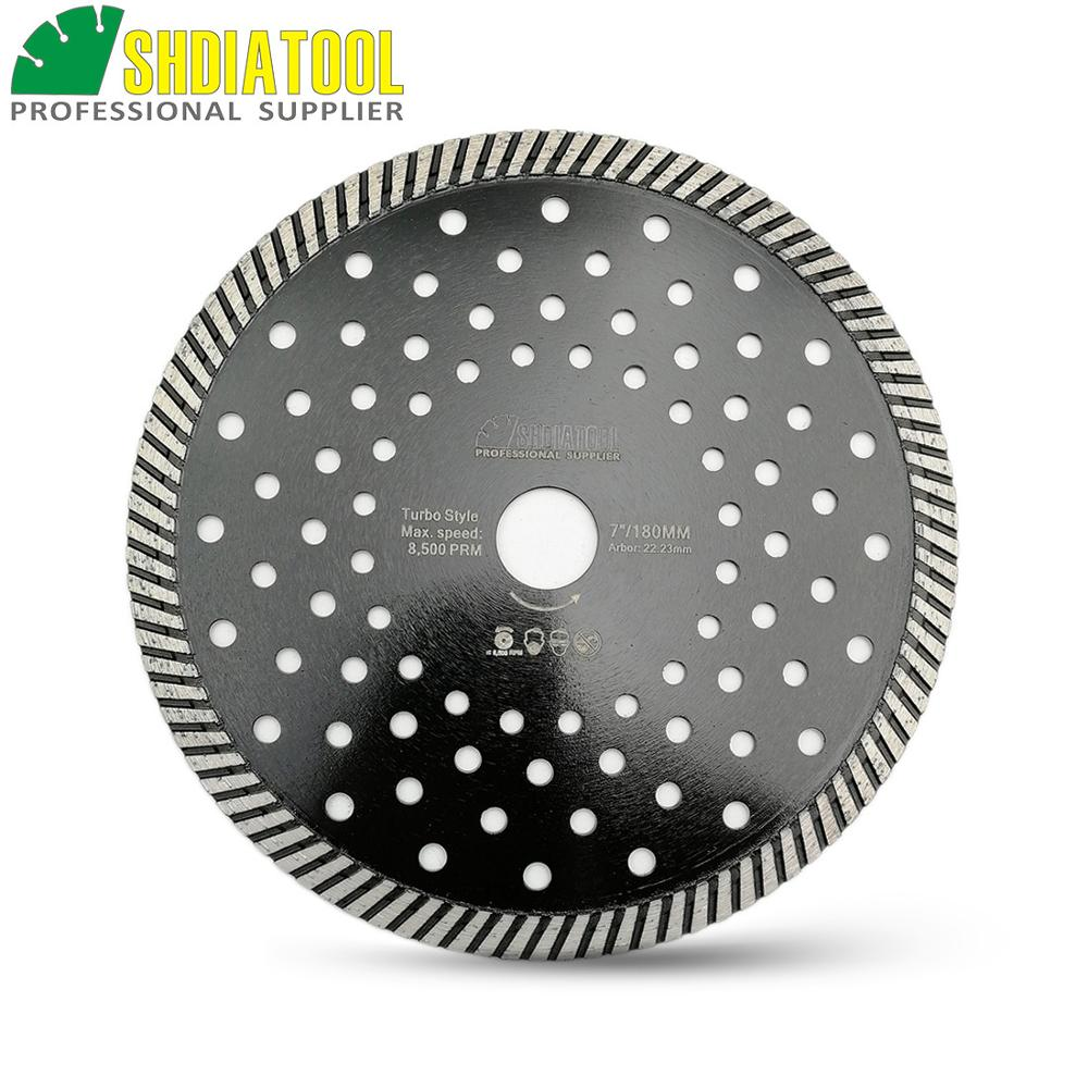 SHDIATOOL 180MM Hot Pressed Diamond Turbo Blade Aterial Ceramic Tile Granite Cutting Discs Concrete Masonry Saw Disc