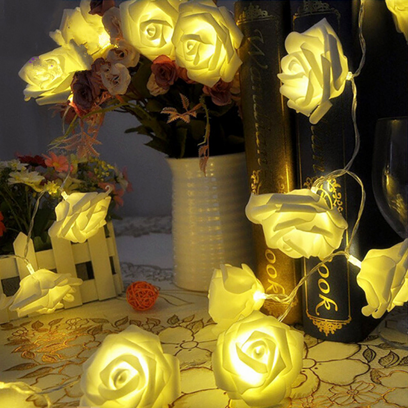 Zk35 20 LED 2M Battery Rose String Garlands Lights Decoration Mothers day Party Wedding Lights Garland Free Shipping