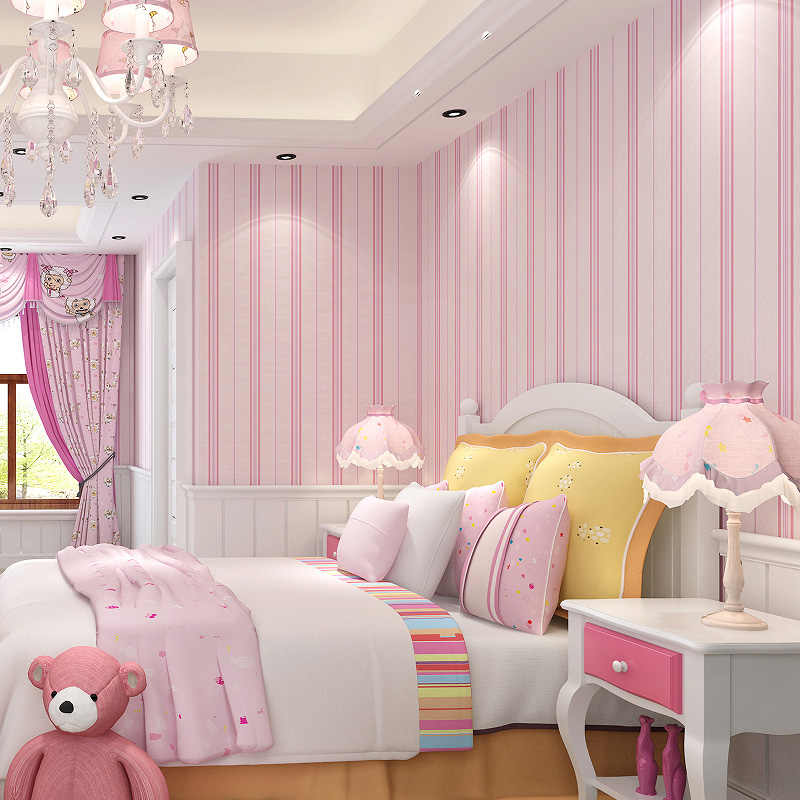 . Modern Room Wall Papers Home Decor Pink Strip Wallpaper for Girls Bedroom  Child Room Wallpaper Roll Vertical Stripped Wallpapers