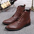 Marrom Homens Hombre Botas Ankle Boots Primavera Outono Couro Genuíno Dedo Apontado Lace Up Mens Botas Militares Botas de Cowboy Sapatas de Vestido