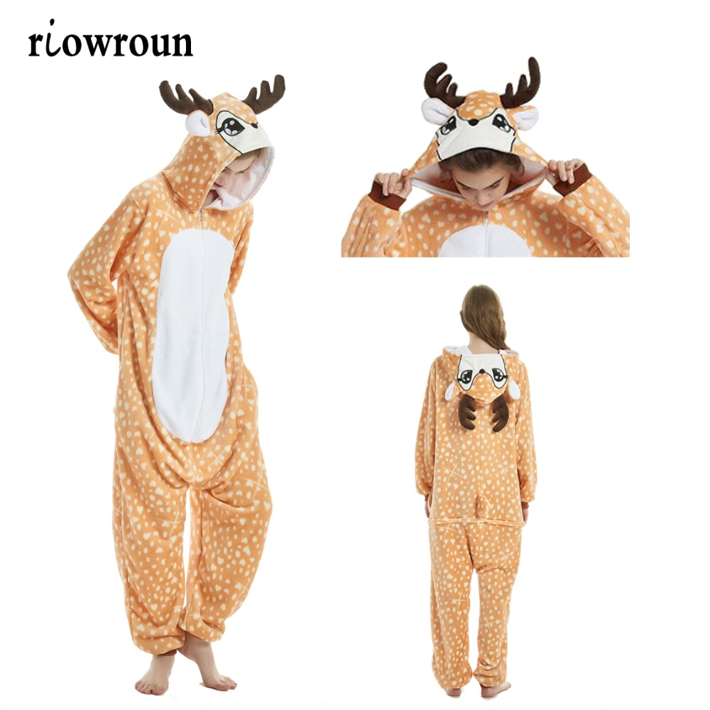 Women Pajamas Unicorn Kigurumi Christmas Adult Animal Flannel Cartoon  Sleepwear Pajamas Set Pikachu Stitch Deer Pajamas 2019