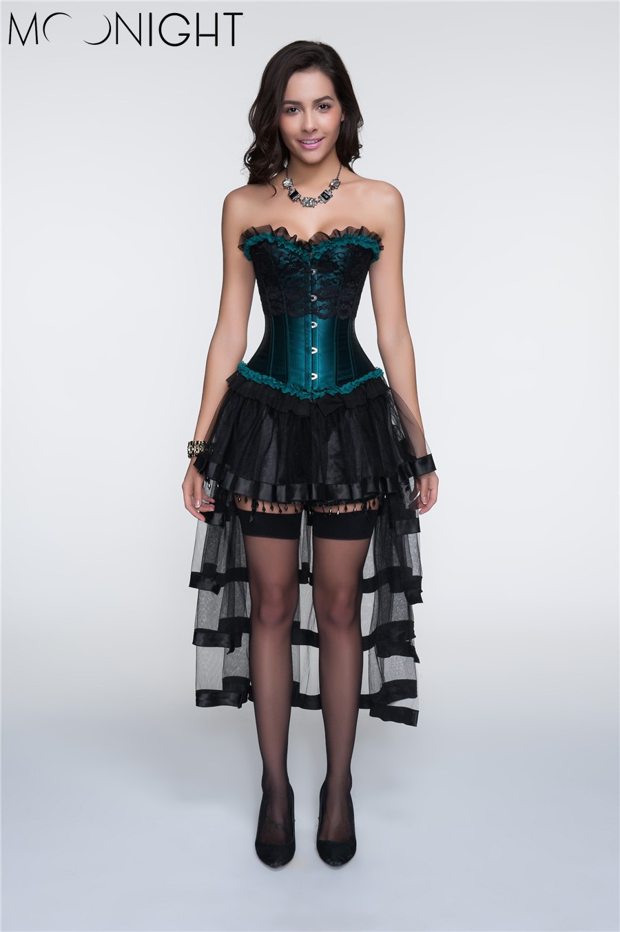 8111black green corset+7084skirt