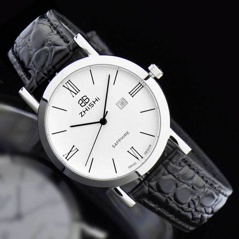 2016 top luxury hongkong brand zhishi swiss movement sapphire mirror genuine leather waterproof men luxury watch