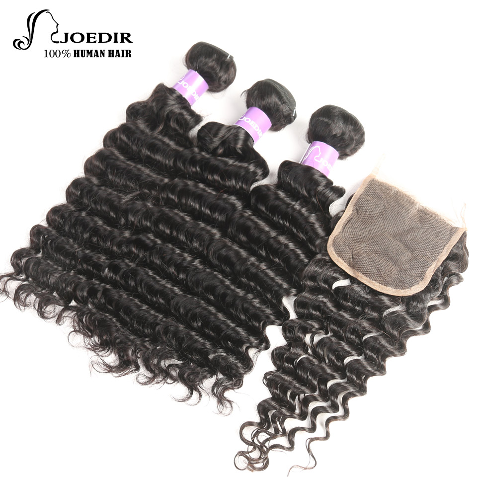 Joedir Peruvian Deep Wave 3 Bundles With Closure Natural Black Non-Remy Human Hair Extention Bundles Deal With 4 x 4 Closure