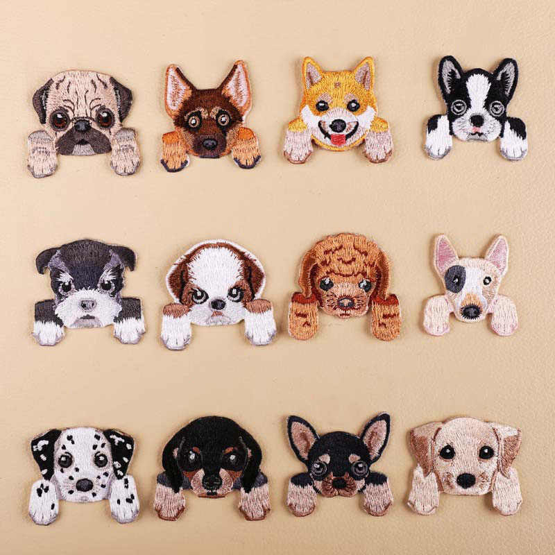 1Pcs Cão Bordado Patch de Calor Transfer Iron On Sew em Remendos para DIY Roupas T-shirt Etiqueta De Pano Apliques Decorativos 47204