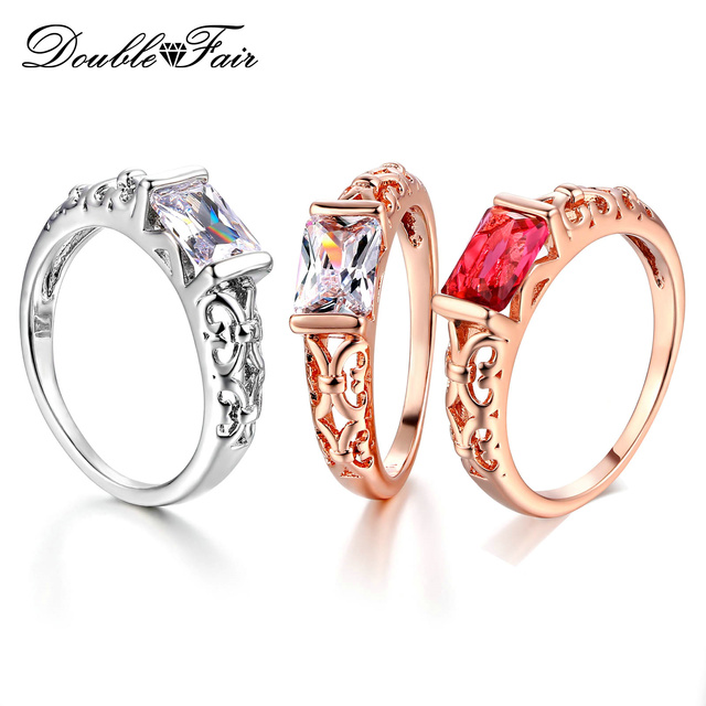 Double Fair Brand Red Crystal Wedding Rings For Women Rose Gold Color / Silver T