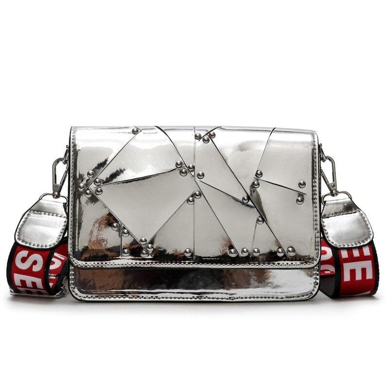 2155fa2822e9 2019 летние пляжные сумки женские зеркальные блестящие мини-сумки-мессенджеры  женские Серебристые черные модные