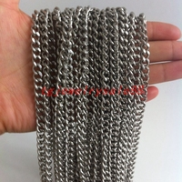 5/10M Wholesale In Bulk Silver Color Stainless Steel Cuban Curb Link Chain For Men's DIY Necklace No Fade Or Tarnish 6mm Wide