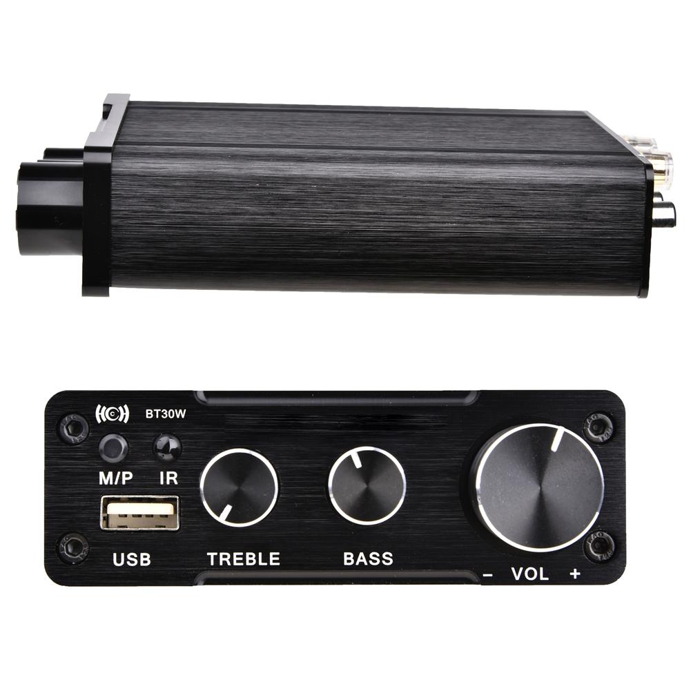 HiFi Audio Digital Amplifiers Lossless USB Player 2*30W Bluetooth 4.2 Power Amplifier Audio Stereo Amp Treble Bass Adjustment new car bluetooth hifi bass power amp digital auto amplifier stereo usb tf radio audio mp3 music with remote 220v
