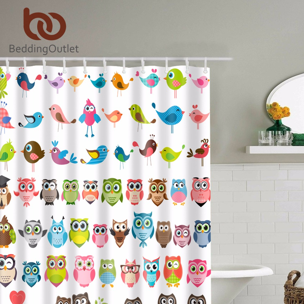 pretty colorful owl pattern shower curtain kids cute polyester bathroom shower curtain set with hooks
