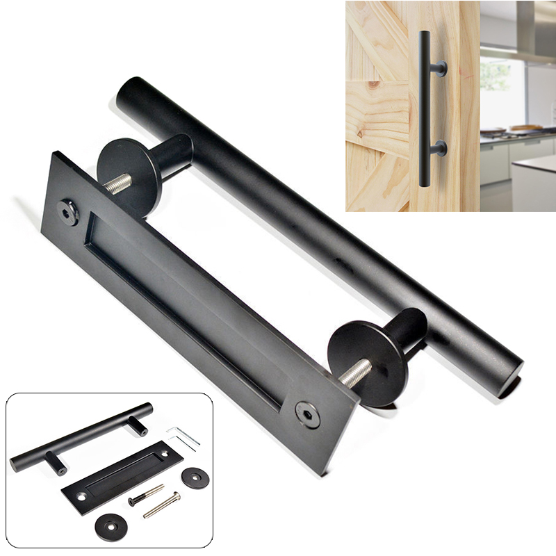 Mayitr 12Inch Sliding Door Pull Handle Durable Barn Door Pull Handle Black Bar Flush Pull handle For Interior Doors Hardware entrance door handle solid wood pull handles pa 377 l300mm for entry front wooden doors