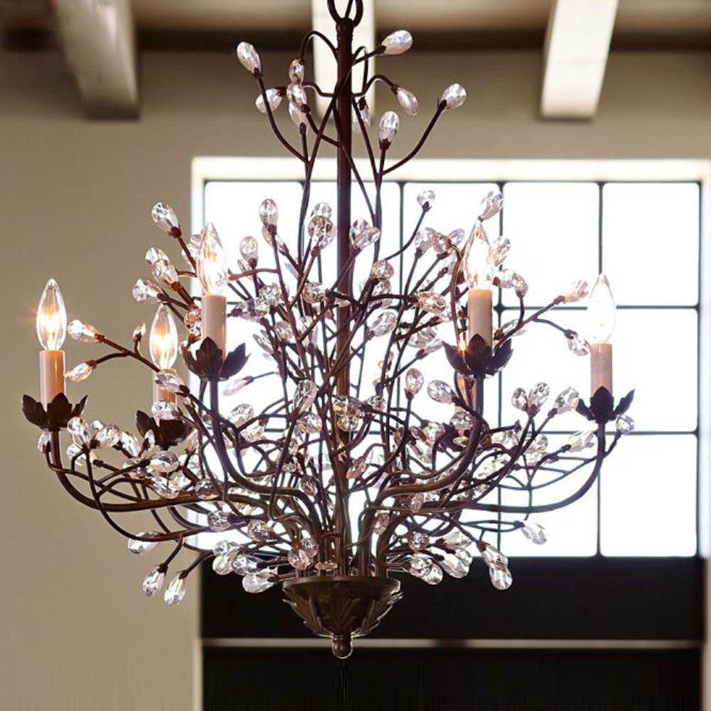 American country handmade crystaliron chandeliers elegant home american country handmade crystaliron chandeliers elegant homehotelbar lights decor 6 branches retro chic pendant lamp e14 in chandeliers from lights arubaitofo Choice Image
