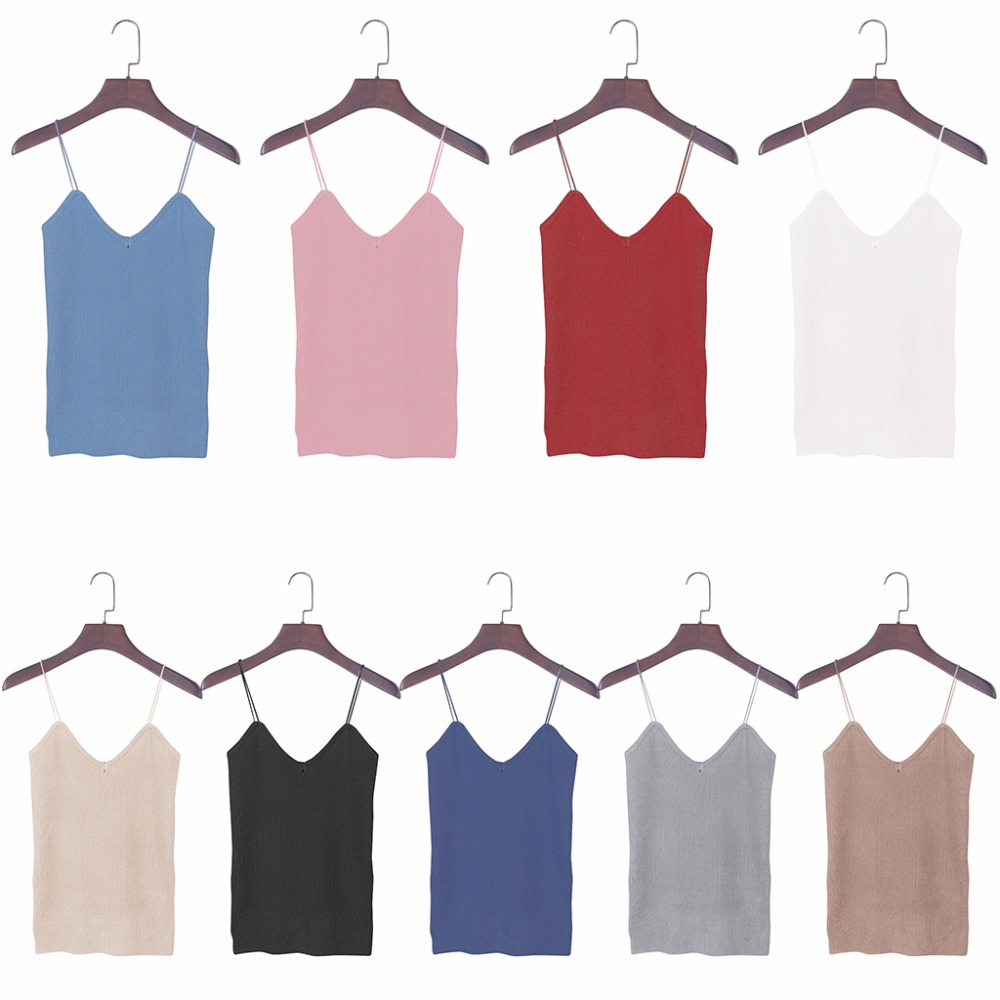 HTB1pgrmPVXXXXbtXXXXq6xXFXXXj - REE SHIPPING 9 Colors Knitted Tank Tops Women Stretchable VNeck Slim JKP311