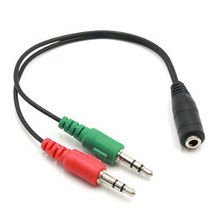Headphone Splitter Earphone Adapter Audio 3.5mm Female to 2 Male Jack 3.5 Mic(China)
