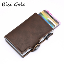 BISI GORO Multifunction Organizer Wallet PU Leather RFID Credit Card Holder Aluminum Box Case for Travel Vintage Purses