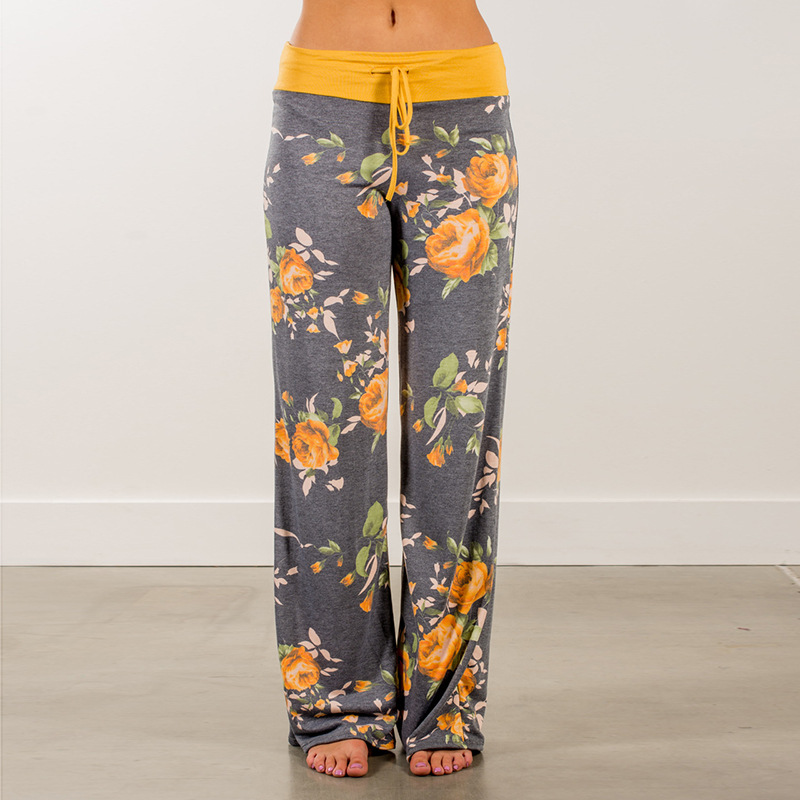 Yellow Color Blocked   Wide     Leg     Pants   Women Summer Streetwear High Waist   Pants   Elastic Casual Drawstring Long Trousers