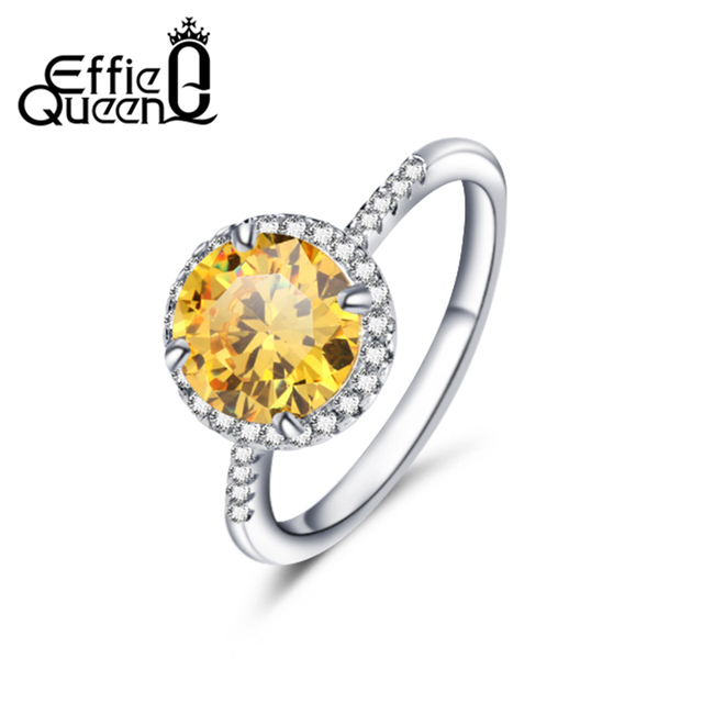 Effie Queen Luxury Hearts&Arrows Cut Yellow Zircon Ring Size 5 6 7 8 9 Fashion Women's Wedding Rings Wholesale DR54