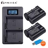 2Pcs EN EL15 EN EL15 ENEL15 EL15A Batteries + LCD Dual USB Charger for Nikon D600 D610 D600E D800 D800E D810 D7000 D7100 d750 V1