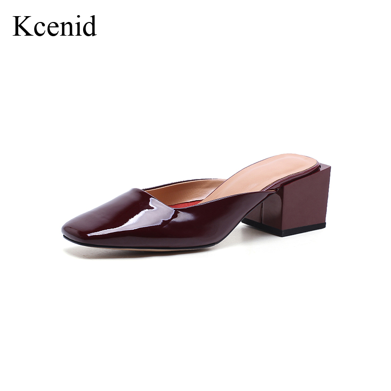 Kcenid 2018 Summer new genuine leather mules fashion square toe shoes woman slip-on high heels women pumps red wine size 34-40 fashion pumps elegant metal size 4 34 women medium square toe female chunky wine red patent leather shoes new 33 modern china