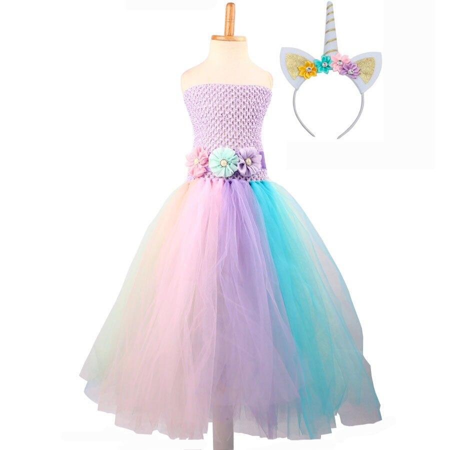 07937662b97d2 Baby Girl Flower Pony Unicorn Tutu Dress Extra Fluffy Kids Fairy Wedding Birthday  Party Dresses with