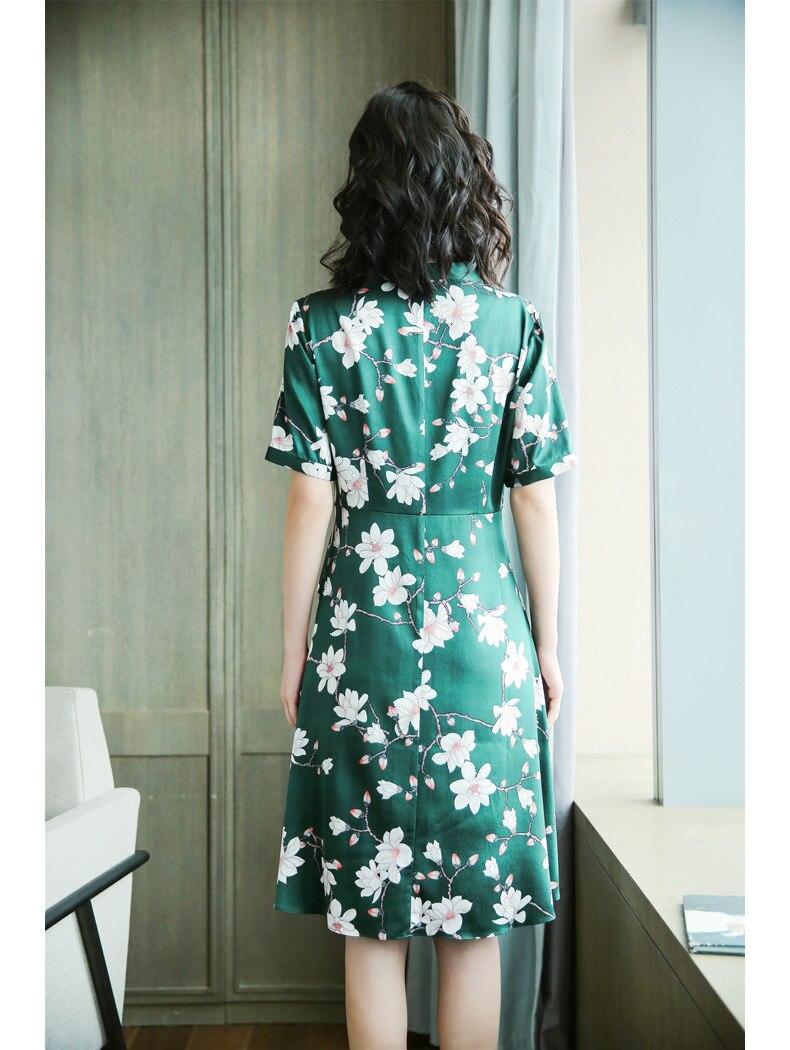 Spandex Xl 100 Tamaño Seda L Cuello Xxxl red V Floral Impresión Vestido Medio Mangas green Xxl Black Natural 4qEnv7E5S