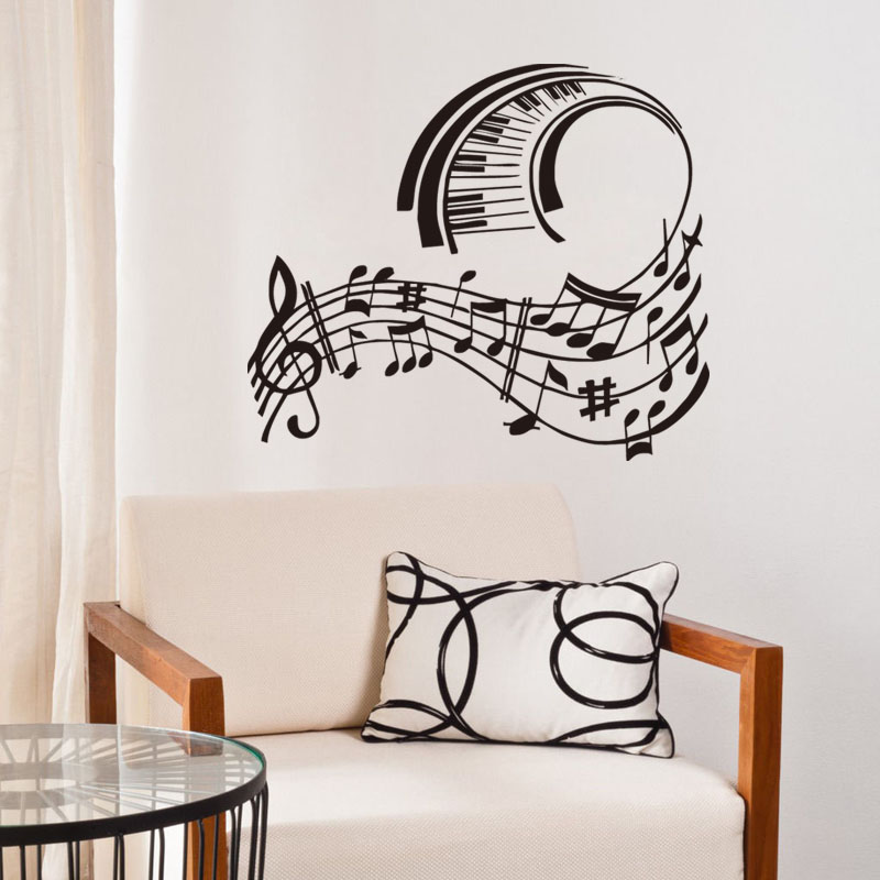 vinilos de msica de piano partitura nursery room decoracin de la pared creativa de pared calcomanas de vinilo arte murales