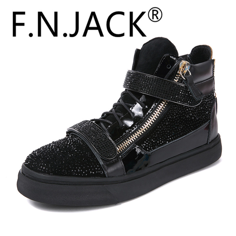 F N JACK Fashion Shoes High Top Sneaker Black Glittering crystals Suede Shearling Double Zip