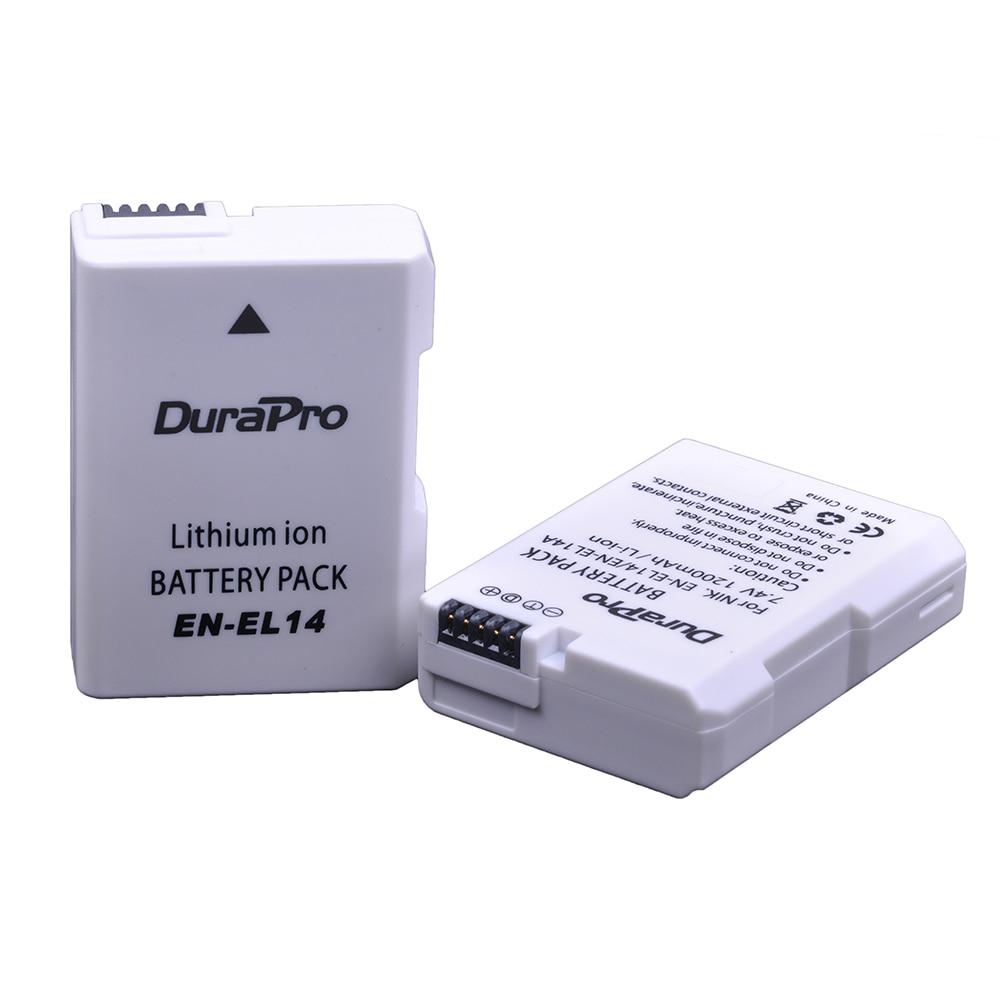 2Pcs 1200mAh EN-EL14 ENEL14 EN EL14 Battery For Nikon D300 D5300 D5200 D5100 D3300 D3200 D3100 For COOLPIX P7100 P7200 P7700