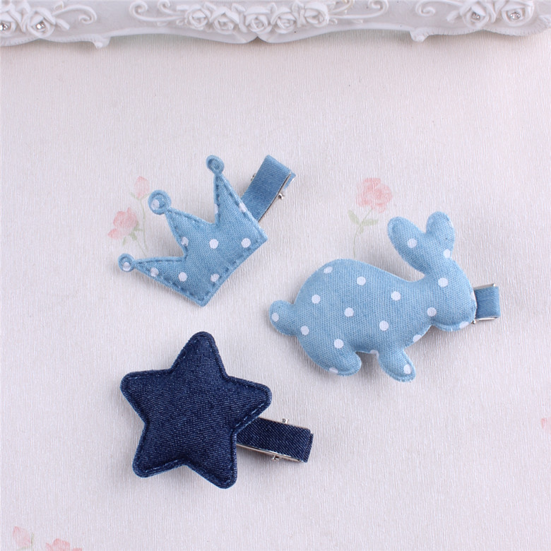 Star Imperial crown rabbit Dot Bowknot Barrette Denim Bow Hair Clip Double Layer Bowknot Hair Accessories