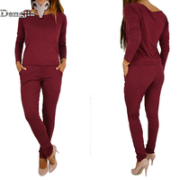 2017European And American Women S Wear Long Sleeved Casual Jumpsuit Lady