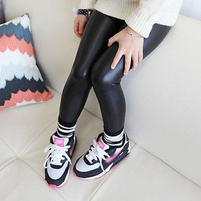 Baby Girls Kids Black Faux Leather Stretchy Skinny Pants Leggings Trousers 1-8Y