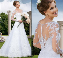 2015 New Sexy Scoop Lace Appliques Wedding Dresses Long Sleeve With See Through Back Vestido De Noiva Manga Longa