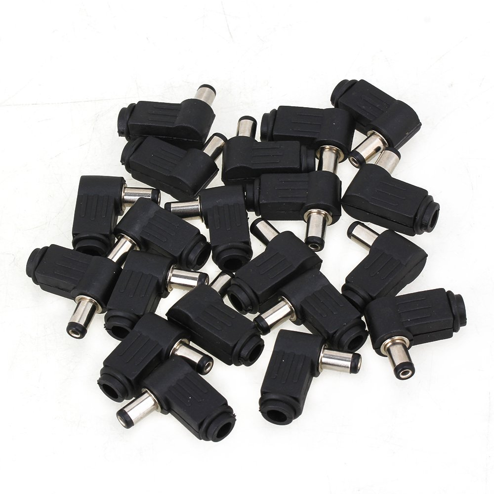 Black and Silver Soldering <font><b>5.5</b></font> x 2.1mm Male <font><b>Plug</b></font> 90 Degree Right Angle L Jack <font><b>DC</b></font> Power Tip Connector Adapter Pack of 20 image