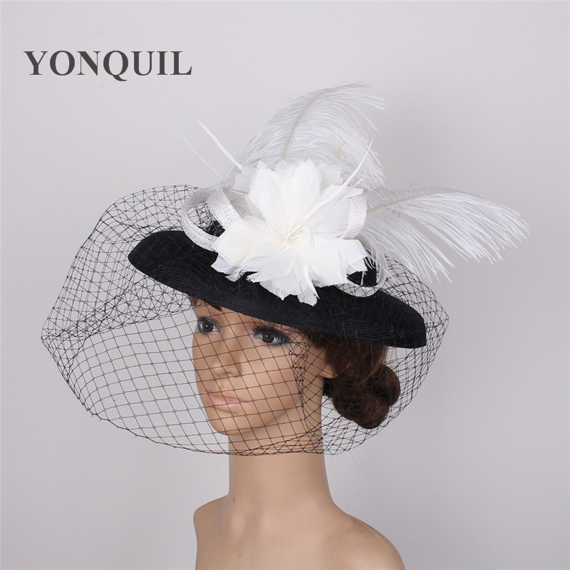94a4b53a9 US $24.69 5% OFF|Wide brim imitation Sinamay Fascinators Church hats for  races wedding kentucky derby white feather and balck hats FREE SHIPPING-in  ...