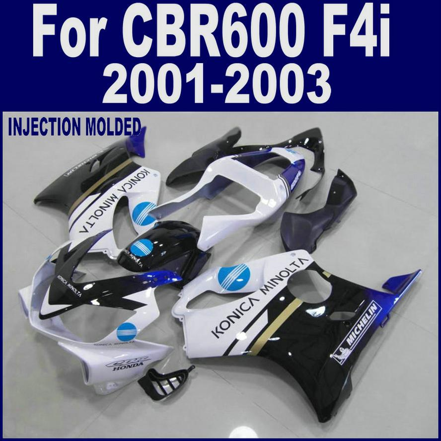 Injection molding for HONDA CBR 600 F4i white black 01 02 03 CBR600 F4i 2001 2002 2003 custom fairing HFSC
