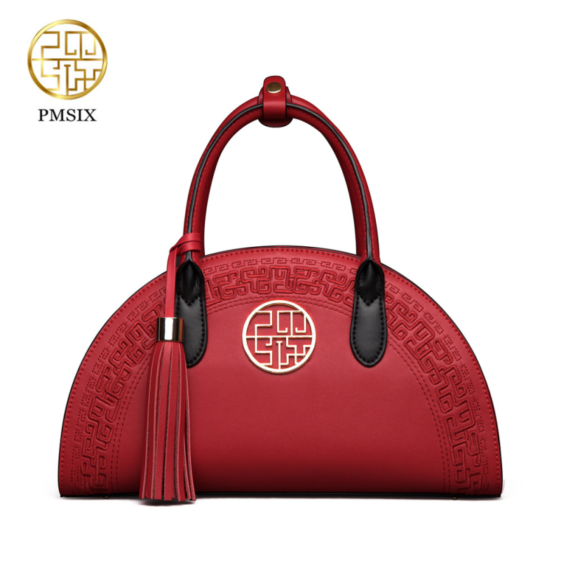 PMSIX 2019 New vintage Cow Leather Handbags Chinese Style Shoulder Bag Red Black Embroidery Wedding Fashion