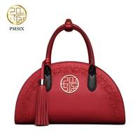 Pmsix 2017 New Women Cattle Split Leather Handbags Retro Shoulder Bag Red Embroidery Fashion Brand Desig